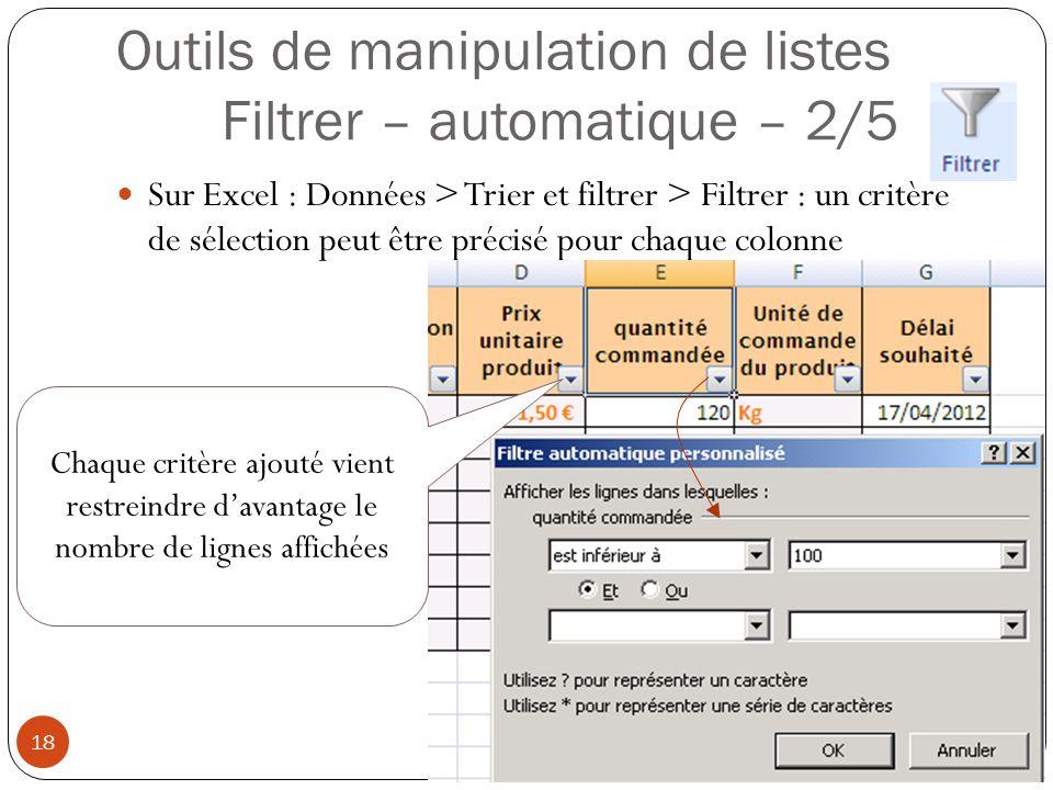 Outils de manipulation de listes Filtrer – automatique – 2/5