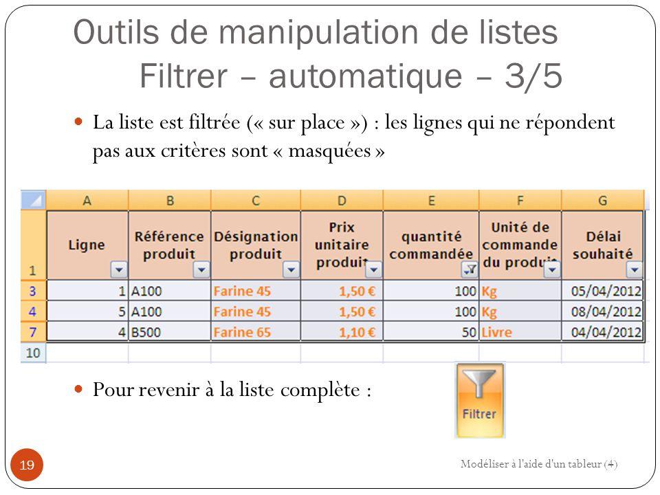 Outils de manipulation de listes Filtrer – automatique – 3/5