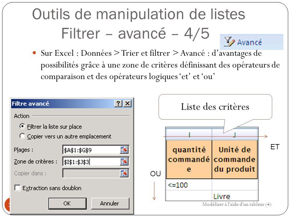 Outils de manipulation de listes Filtrer – avancé – 4/5