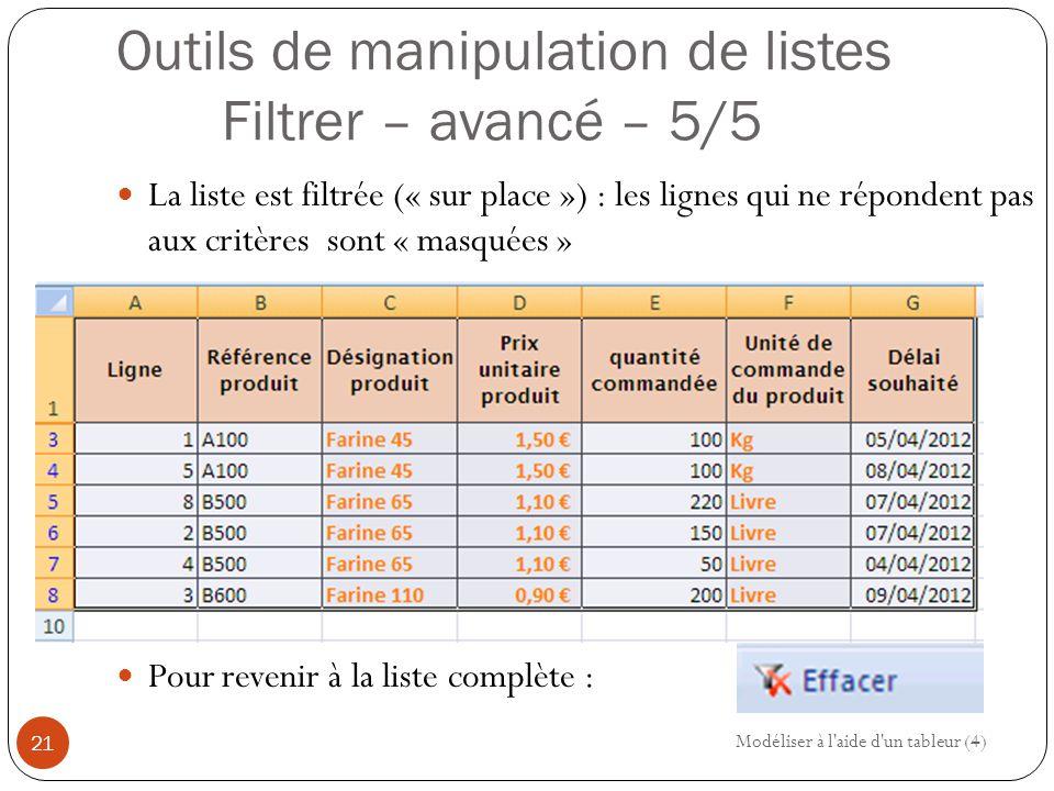 Outils de manipulation de listes Filtrer – avancé – 5/5