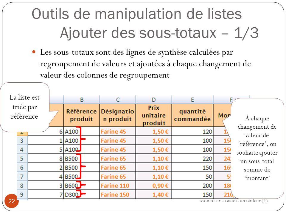 Outils de manipulation de listes Ajouter des sous-totaux – 1/3