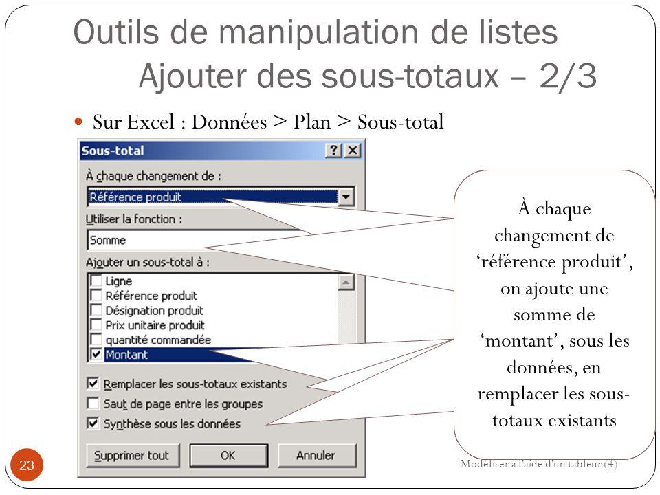 Outils de manipulation de listes Ajouter des sous-totaux – 2/3
