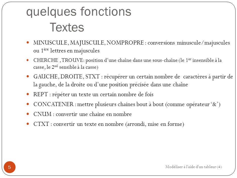 quelques fonctions Textes