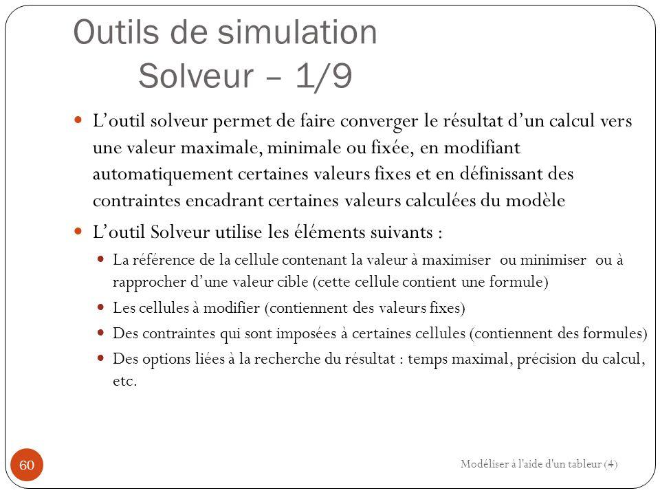 Outils de simulation Solveur – 1/9