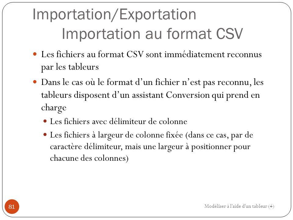 Importation/Exportation Importation au format CSV
