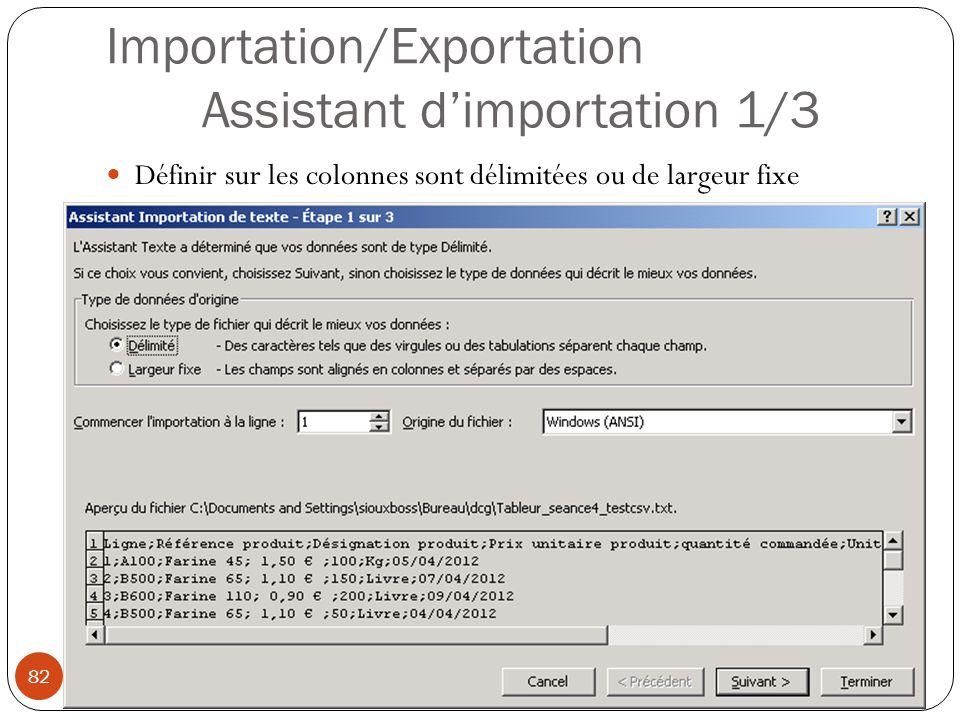 Importation/Exportation Assistant d'importation 1/3