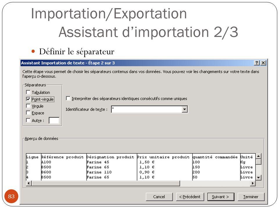 Importation/Exportation Assistant d'importation 2/3