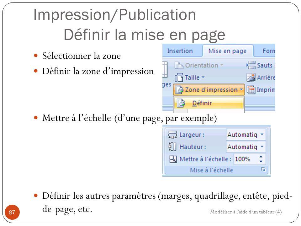 Impression/Publication Définir la mise en page