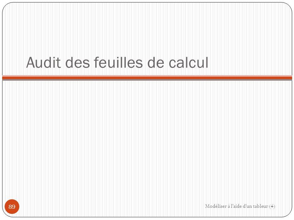 Audit des feuilles de calcul