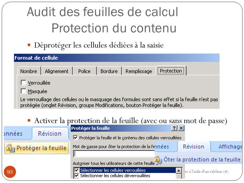 Audit des feuilles de calcul Protection du contenu