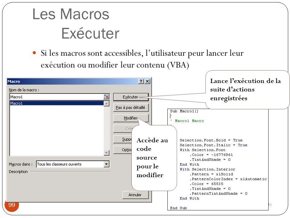 Les Macros Exécuter Si les macros sont accessibles, l'utilisateur peur lancer leur exécution ou modifier leur contenu (VBA)