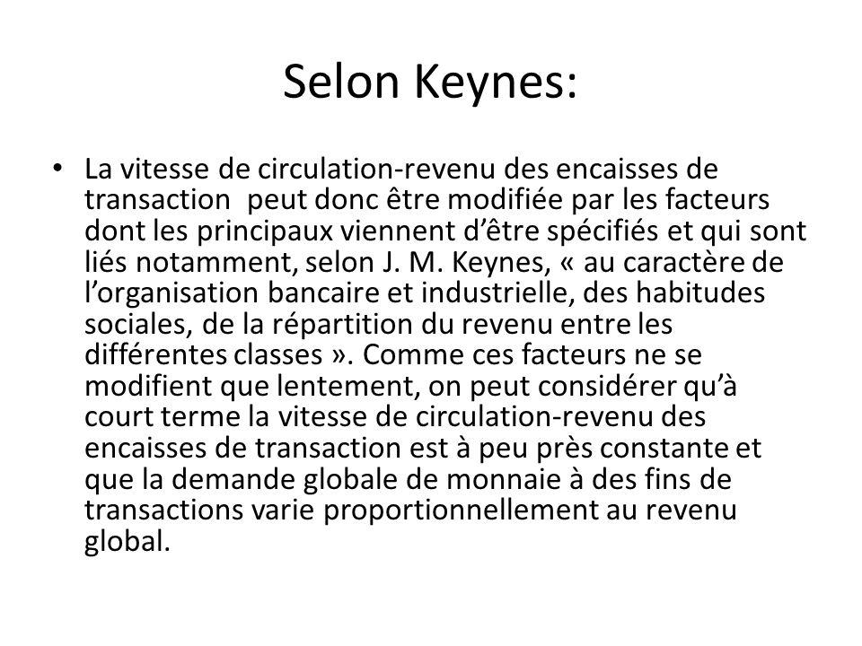 Selon Keynes: