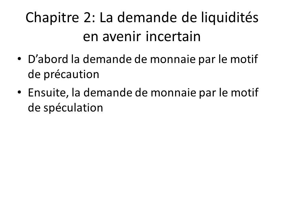 Chapitre 2: La demande de liquidités en avenir incertain