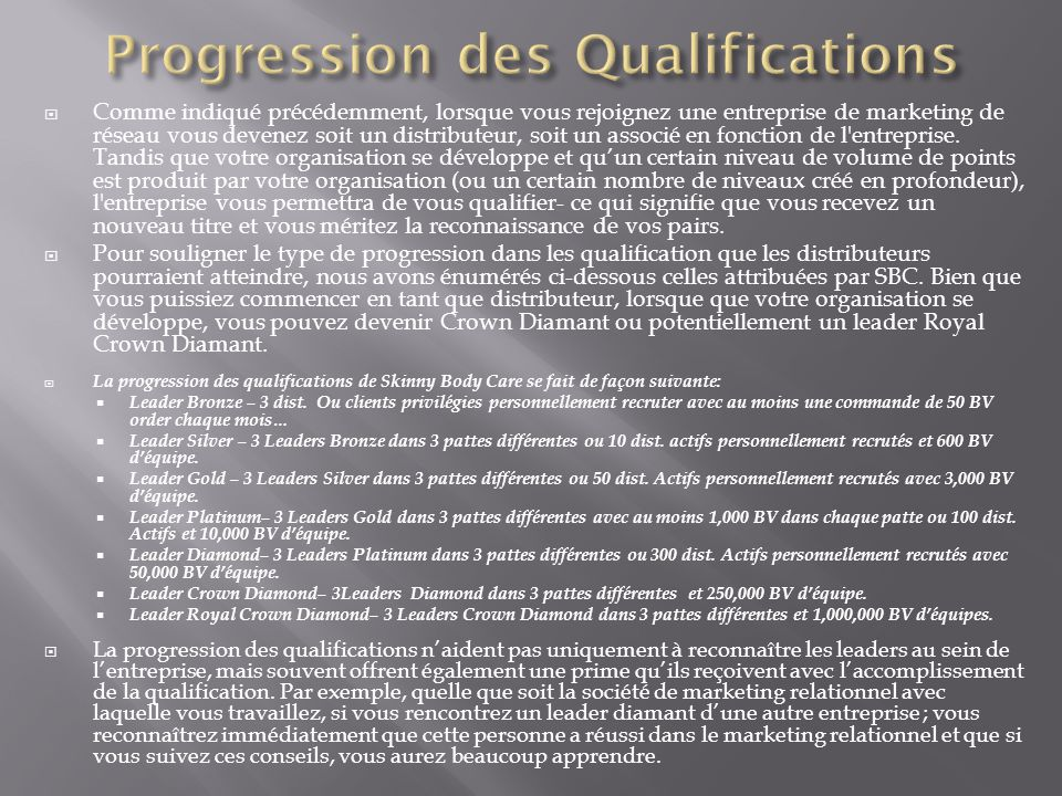 Progression des Qualifications