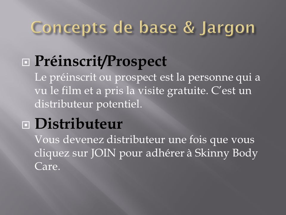 Concepts de base & Jargon