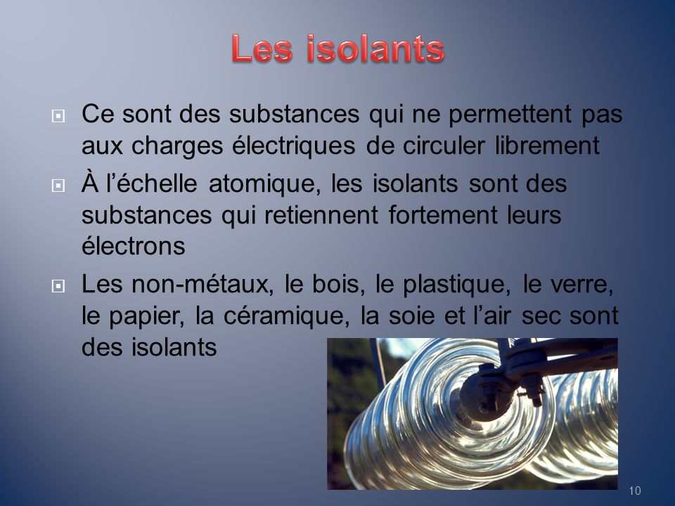 Les isolants Ce sont des substances qui ne permettent pas aux charges électriques de circuler librement.
