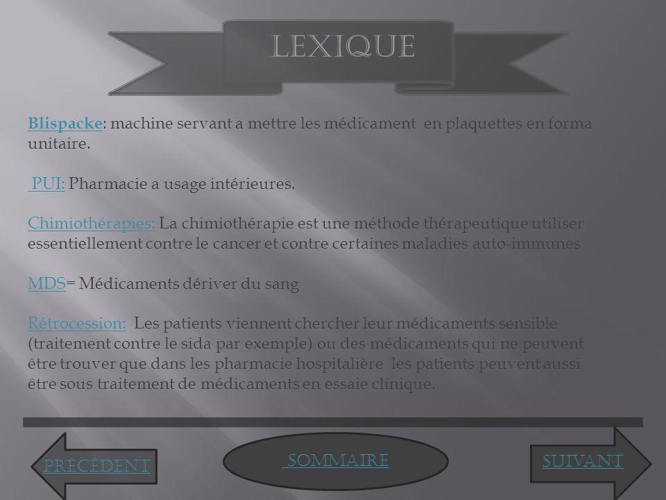 Lexique Blispacke: machine servant a mettre les médicament en plaquettes en forma unitaire. PUI: Pharmacie a usage intérieures.