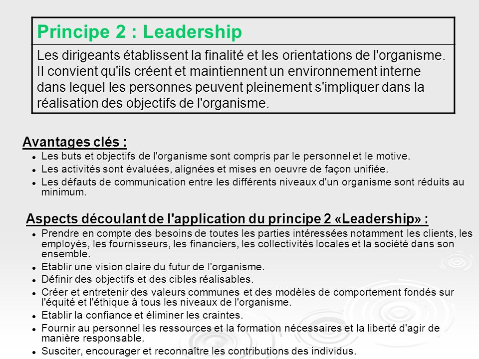 Principe 2 : Leadership