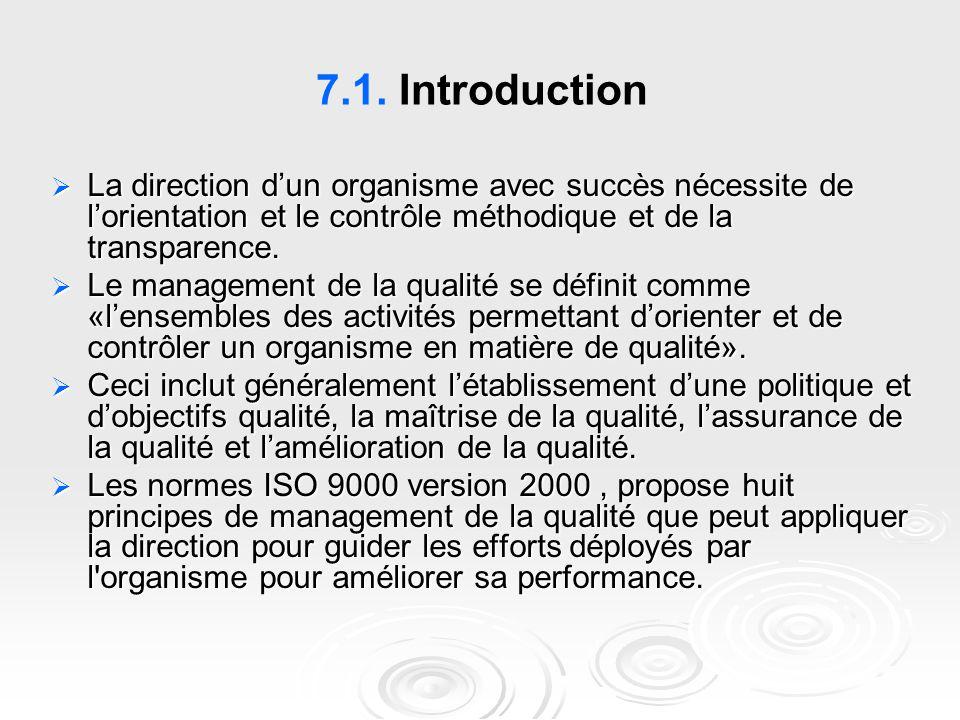 7.1. Introduction La direction d'un organisme avec succès nécessite de l'orientation et le contrôle méthodique et de la transparence.
