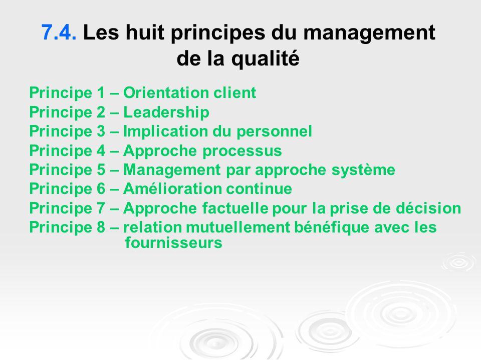 7.4. Les huit principes du management de la qualité