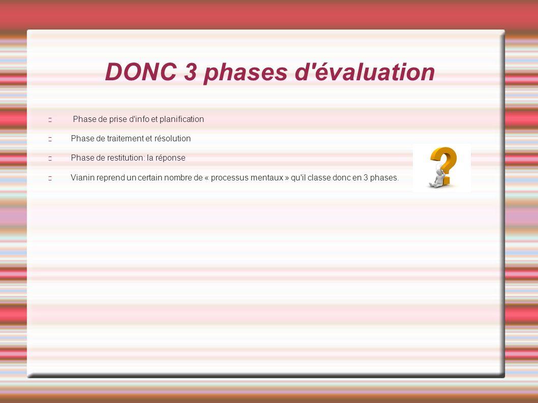 DONC 3 phases d évaluation