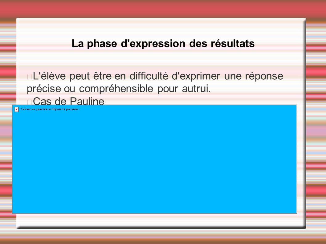 La phase d expression des résultats
