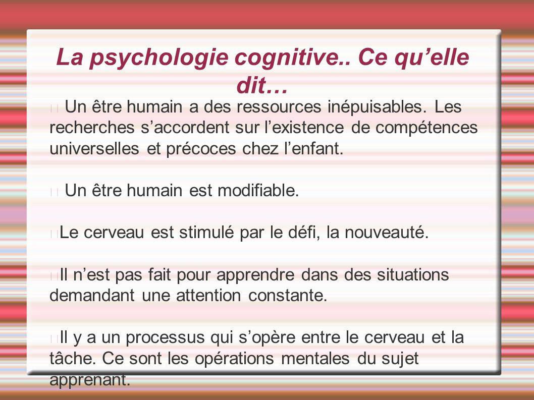 La psychologie cognitive.. Ce qu'elle dit…