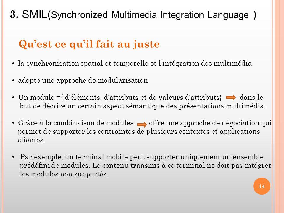3. SMIL(Synchronized Multimedia Integration Language )