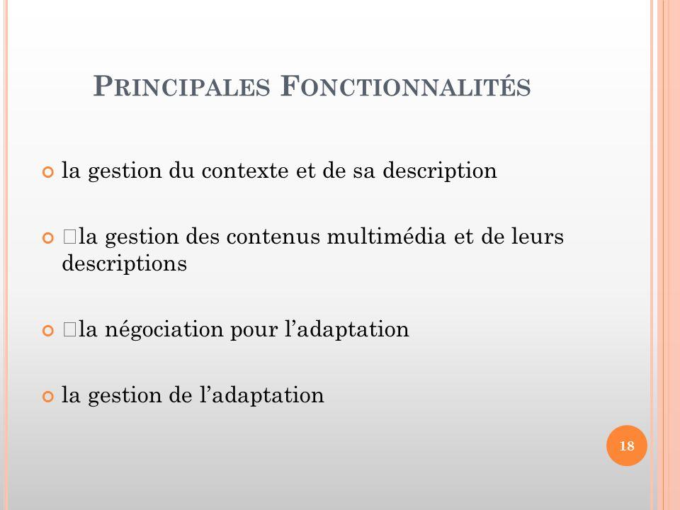 Principales Fonctionnalités