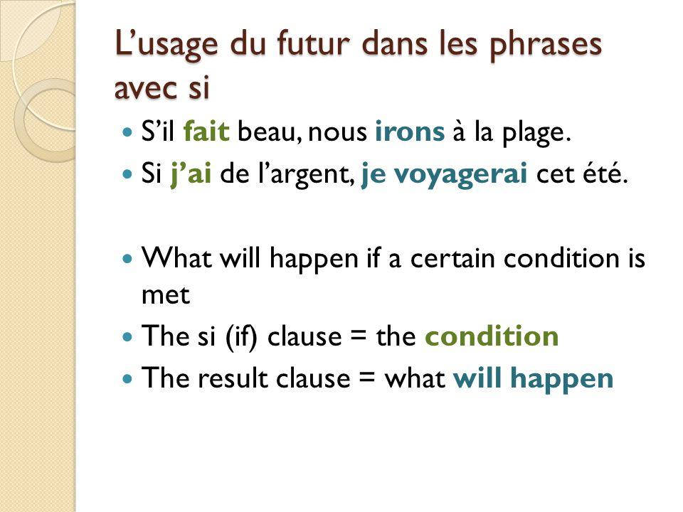 L'usage du futur dans les phrases avec si