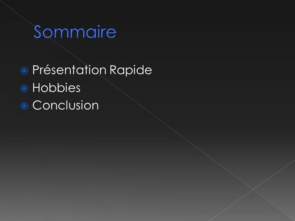 Sommaire Présentation Rapide Hobbies Conclusion