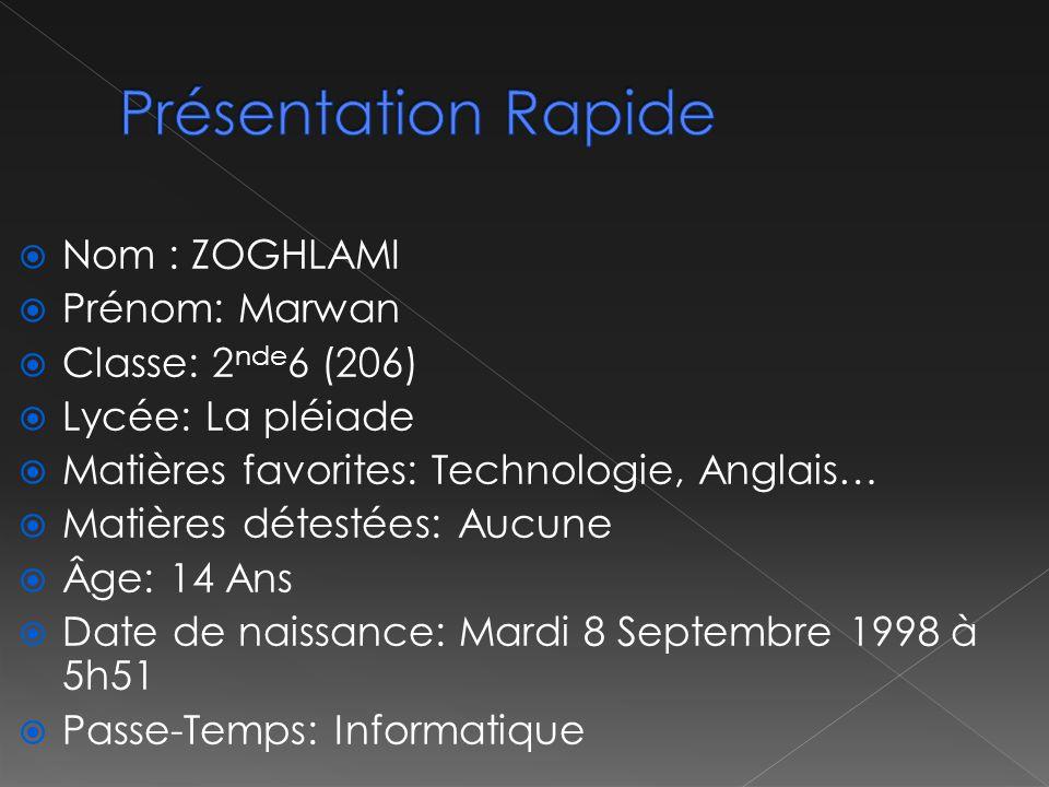 Présentation Rapide Nom : ZOGHLAMI Prénom: Marwan Classe: 2nde6 (206)