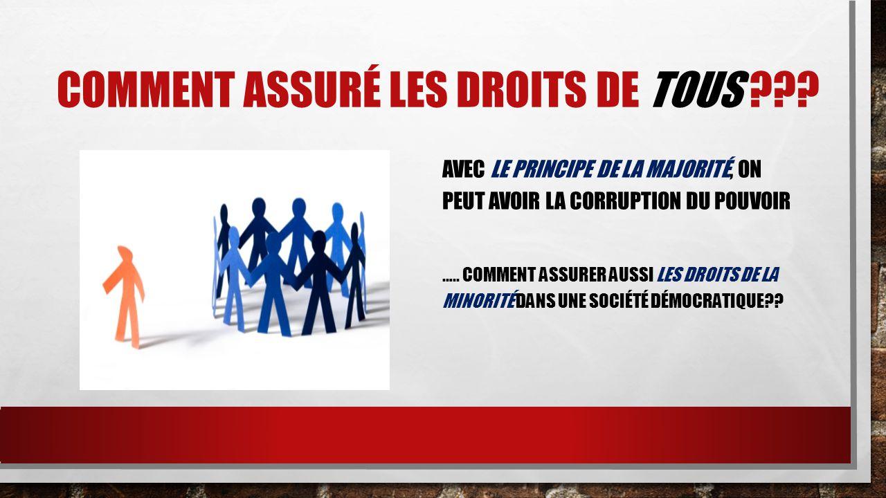 COMMENT ASSURÉ LES DROITS DE TOUS