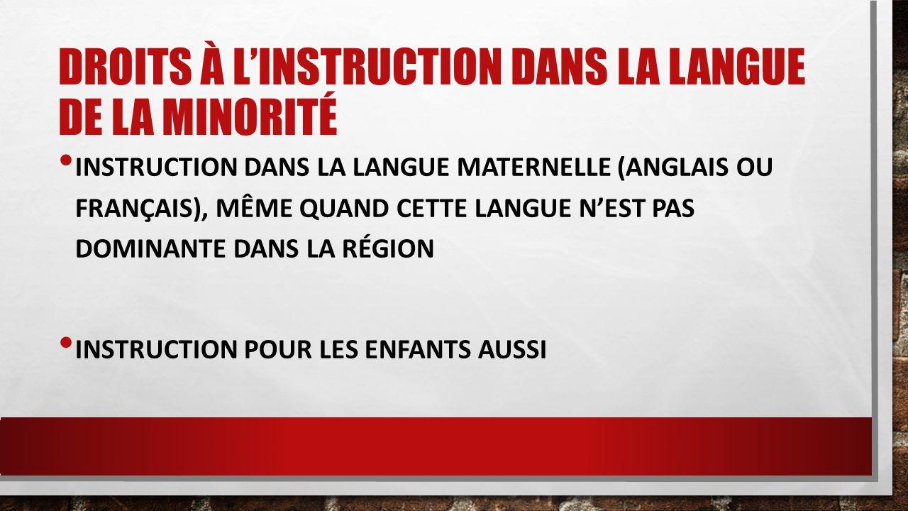 DROITS À L'INSTRUCTION DANS LA LANGUE DE LA MINORITÉ