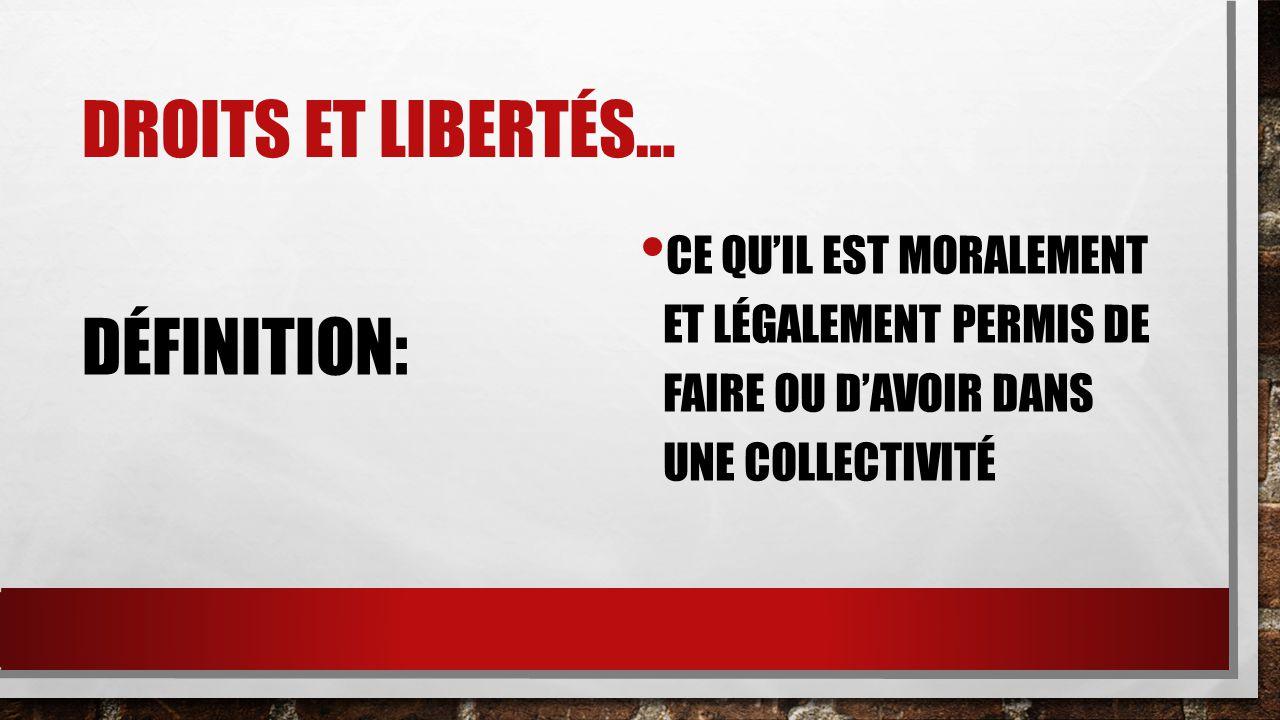 DROITS et LIBERTÉS… DÉFINITION: