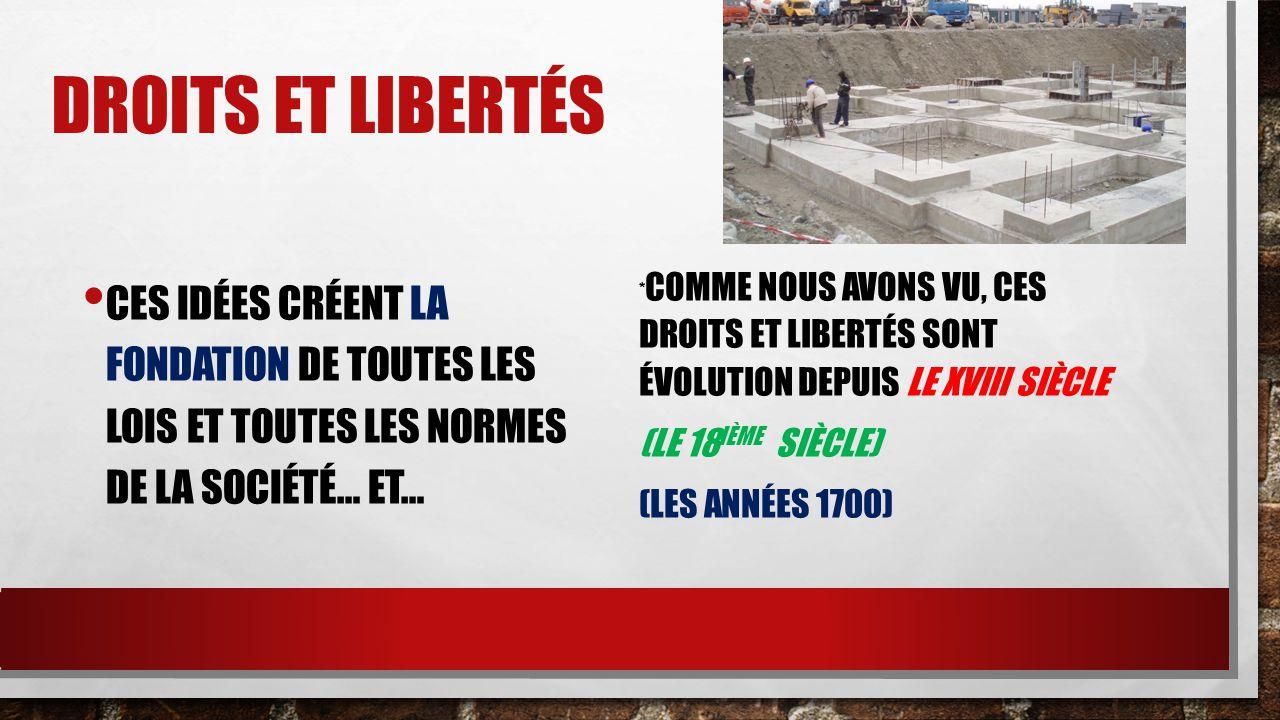 Droits et libertés Ces idées créent la fondation de toutes les lois et toutes les normes de la société… ET…