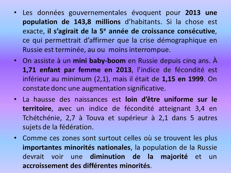 Les données gouvernementales évoquent pour 2013 une population de 143,8 millions d'habitants. Si la chose est exacte, il s'agirait de la 5e année de croissance consécutive, ce qui permettrait d'affirmer que la crise démographique en Russie est terminée, au ou moins interrompue.
