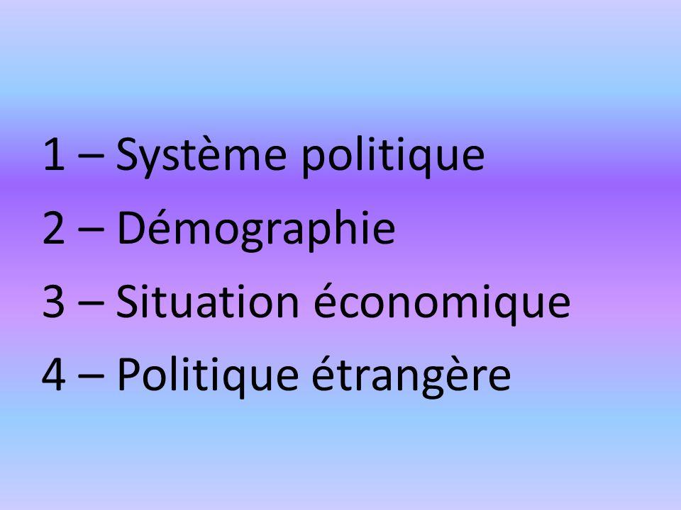 1 – Système politique 2 – Démographie 3 – Situation économique 4 – Politique étrangère