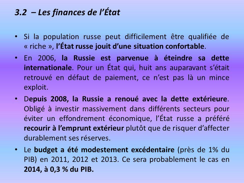 3.2 – Les finances de l'État