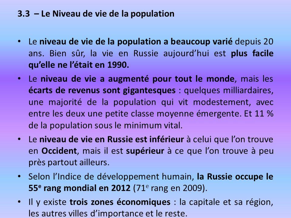 3.3 – Le Niveau de vie de la population