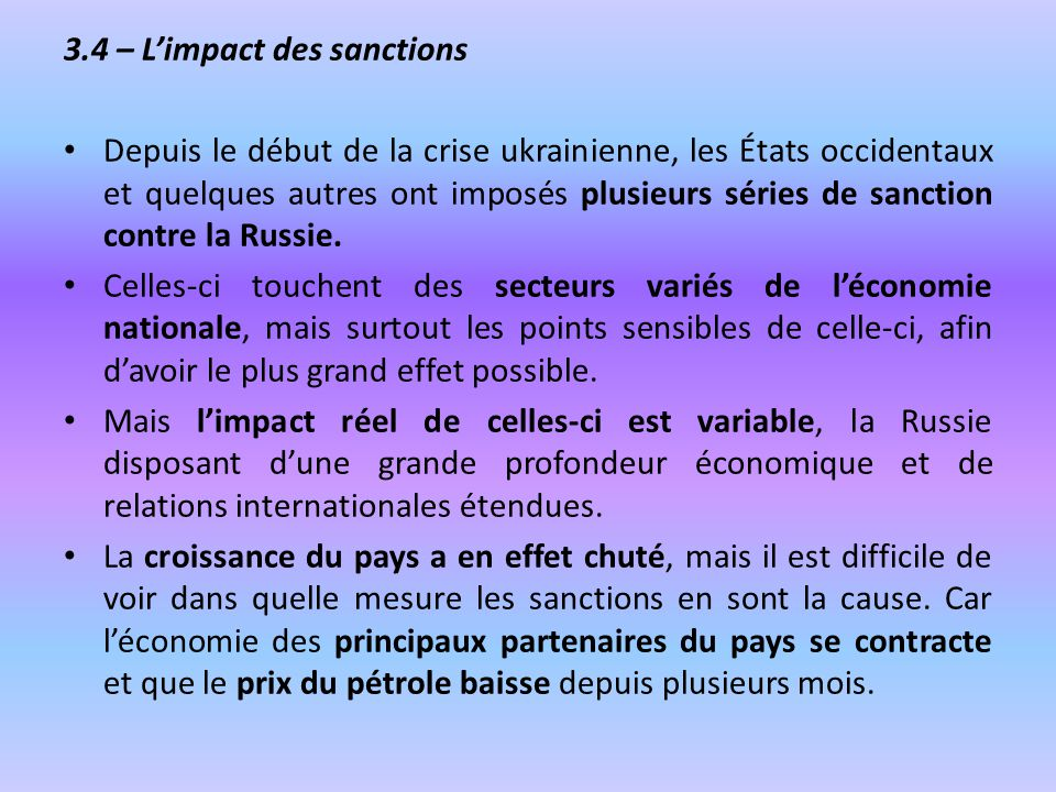 3.4 – L'impact des sanctions