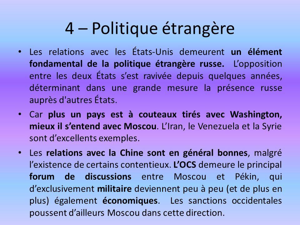 4 – Politique étrangère