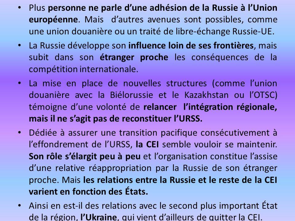 Plus personne ne parle d'une adhésion de la Russie à l'Union européenne. Mais d'autres avenues sont possibles, comme une union douanière ou un traité de libre-échange Russie-UE.