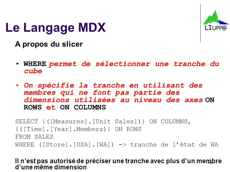 Le Langage MDX A propos du slicer
