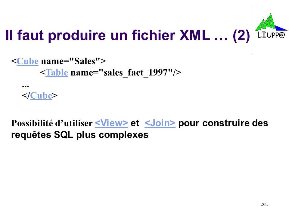 Il faut produire un fichier XML … (2)