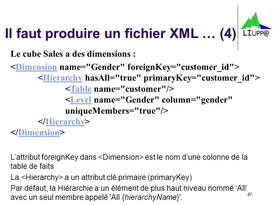 Il faut produire un fichier XML … (4)