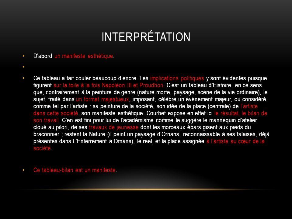 Interprétation D'abord un manifeste esthétique.