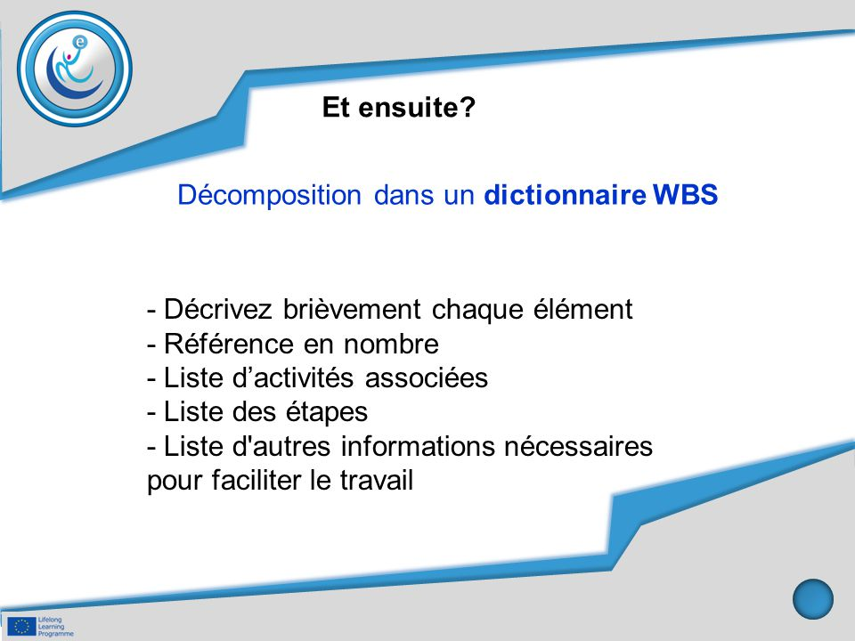 Et ensuite Décomposition dans un dictionnaire WBS. - Décrivez brièvement chaque élément. - Référence en nombre.