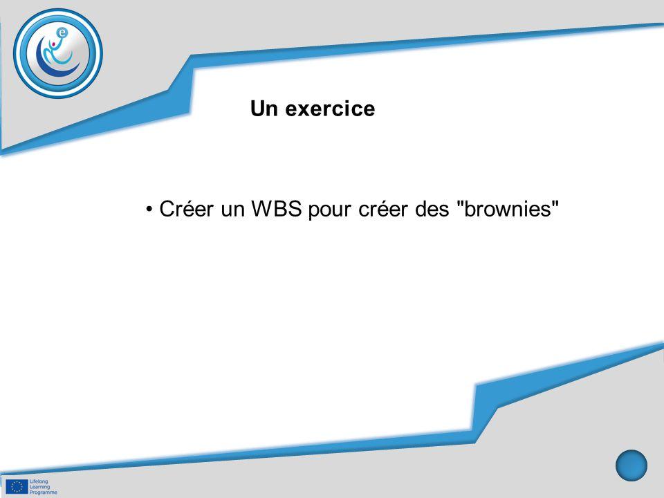Un exercice • Créer un WBS pour créer des brownies