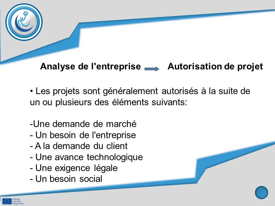 Analyse de l entreprise Autorisation de projet